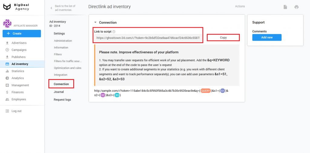 Directlink creation and Integration Guide for Publishers