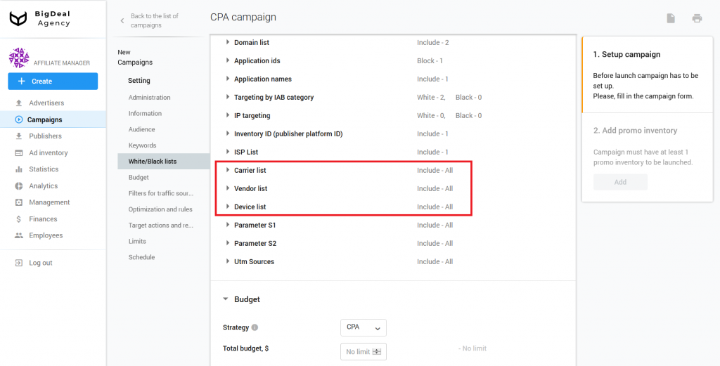 Creation of CPA Campaign