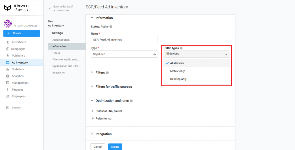 Creation of SSP/Feed Ad Inventory